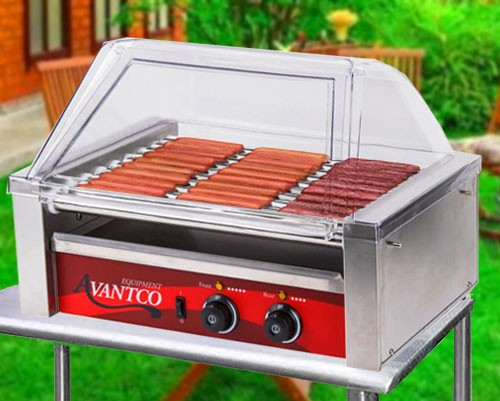 Hot Dog Roller Grill 30 Dog with Bun Holder