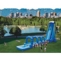 42ft Dual Lane Blue Crush Slip N Dip Water Slide