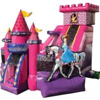 (C ) Princess Kids Zone Bounce Slide combo (Wet or Dry)